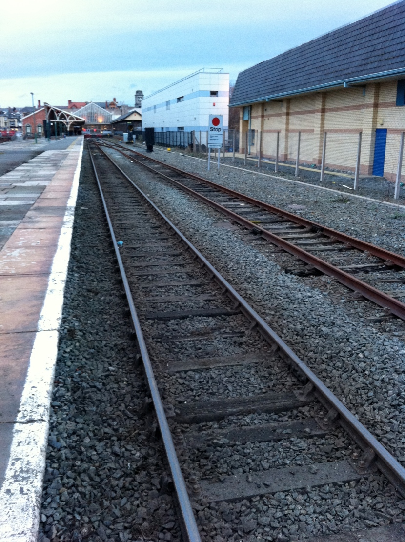 Single line track into and out of Aberystwyth
